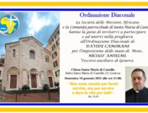 Davide Camorani presto ordinato diacono per la missione